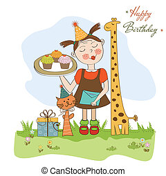 Happy Birthday card with funny girl, animals and cupcakes,...