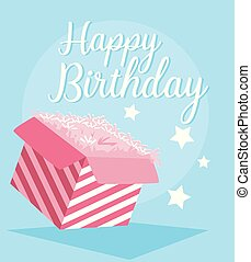 happy birthday card with gift box