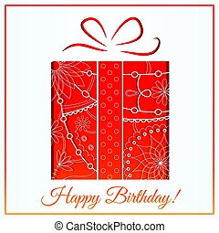 Happy birthday card with gift gradient