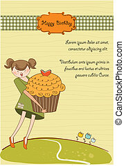 Happy Birthday card with girl and cup cake