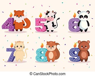 happy birthday card with group of animals