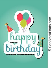 Happy birthday card with label over detailed background