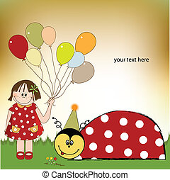 happy birthday card with ladybug