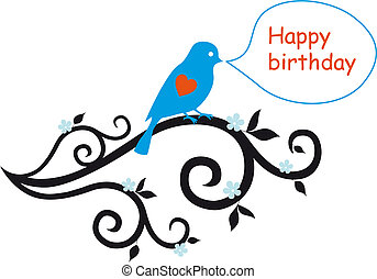 happy birthday card with lovebird - happy birthday...