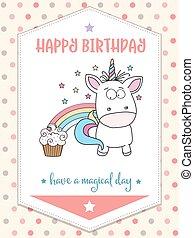 happy birthday card  with lovely baby unicorn