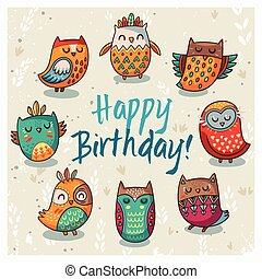 Happy birthday card with owls. Vector illustration - Owl ...