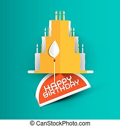 Happy Birthday Card with Paper Cut Cake on Blue Background.