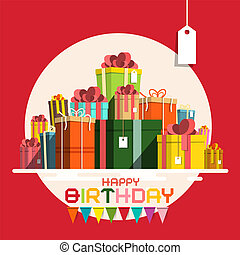 Happy Birthday Card with Paper Gift Boxes Pile. Vector Present Box Pile with Flags on Red Background.