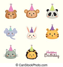 happy birthday card with set cute animals