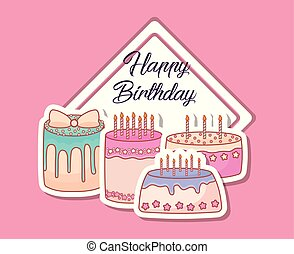 happy birthday card with sweet cakes