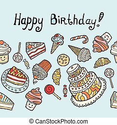 Happy birthday card with sweets on blue background.