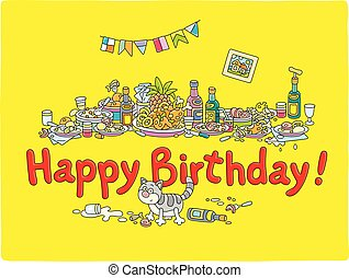 Festive table with various drinks and tasty food after noisy and funny party, vector cartoon illustration
