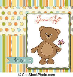 happy birthday card with teddy bear