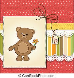 happy birthday card with teddy bear and flower