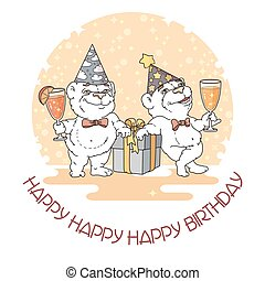 Happy Birthday card with two cute bears. Vector...
