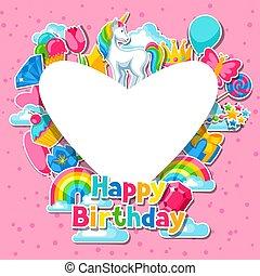 Happy birthday. Card with unicorn and fantasy items