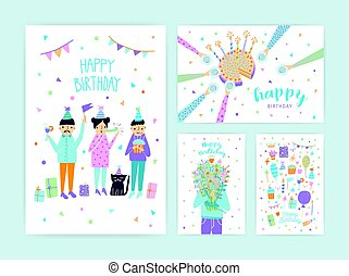 Happy birthday cards set. Collection of cartoon postcards.