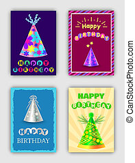 Happy Birthday Cards Set of Vector Illustrations