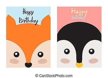 Happy Birthday Cards Set, Vector Illustration