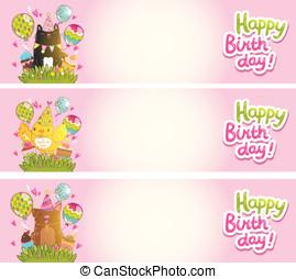 Happy Birthday cards with cat, dog, bird.