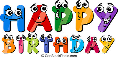 happy birthday cartoon sign