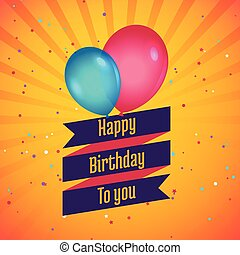happy birthday celebration card with balloons