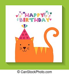 happy birthday celebration card with cat
