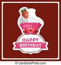 happy birthday celebration card with delicious cake
