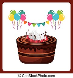 happy birthday celebration card with delicious cake