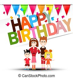 Happy Birthday Celebration with Flags, Confetti and Family. Vector Design.