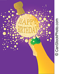Champagne bottle being opened with froth and bubbles with a large bubble exclaiming 'HAPPY BIRTHDAY'