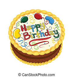 Happy Birthday chocolate cake decorated with balloons and confetti. Isolated on white background. Vector file saved as EPS AI8, all elements layered and grouped. Easy edit.