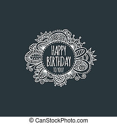 Happy Birthday Circle Hand Drawn Illustration Grey