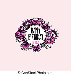 Happy Birthday Circle Hand Drawn Illustration Pink