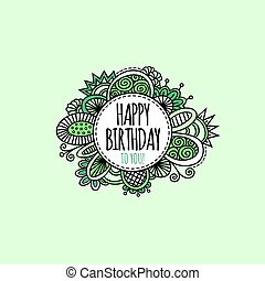 Happy Birthday Circle Hand Drawn Vector Illustration Green