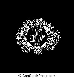 Happy Birthday Circle Hand Drawn Vector Illustration Grey