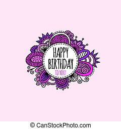 Happy Birthday Circle Hand Drawn Vector Illustration Pink