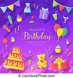happy birthday circle infographics template concept. Icons design for your product or, web and mobile applications. Vector flat with long shadow illustration on isoleted background