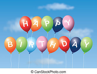 Happy Birthday with blue background