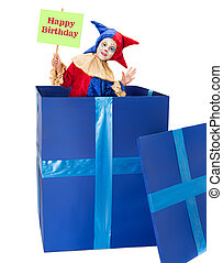 Happy Birthday clown - Clown girl playing surprise party at...