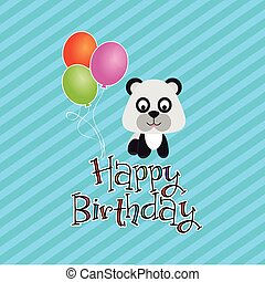 colored background with text and a happy animal for birthday vector illustration