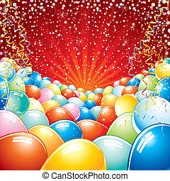 Colorful brightly backdrop with balloons, confetti, ribbons