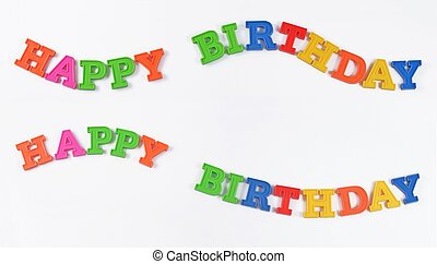 Happy birthday colorful text on a white