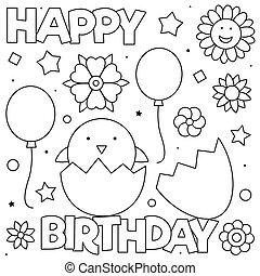 Happy Birthday. Coloring page. Vector illustration of chicken