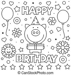 Happy birthday sign coloring page. Black and white cartoon ...