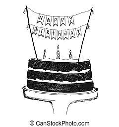 Happy Birthday concept, hand drawn