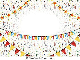 Happy Birthday congratulations template with text plate on background with balloons, buntings garlands and confetti