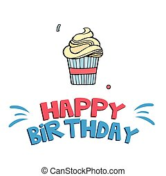 Happy Birthday Cup Cake Background Vector Image