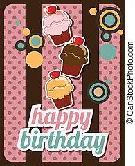 Happy birthday cup cake card, vintage retro, vector