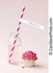 Happy birthday! - Cupcake and pink lemonade